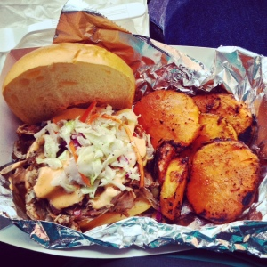Brisket and Pork Sammich with Honey-Glazed Sweet Potato