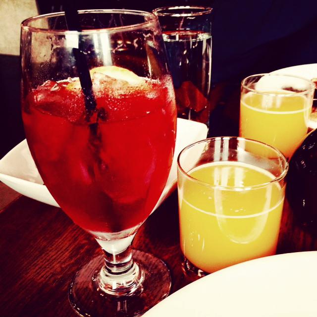 Brunch punch and orange juice