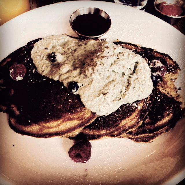 Close-up of the Buckwheat Pancakes at Tender Bar & Kitchen