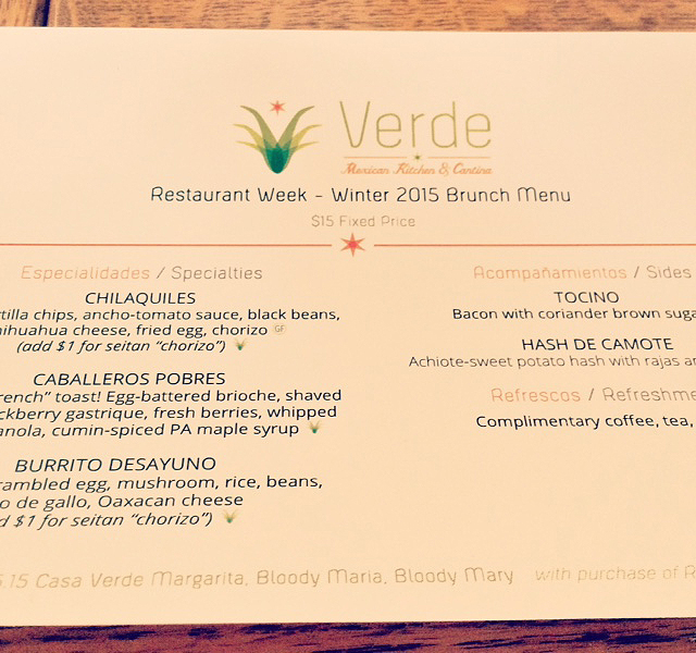 Pittsburgh Restaurant Week Brunch Menu at Verde