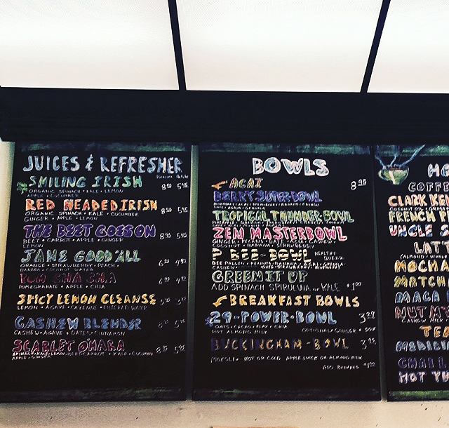 Salud Juicery's menu