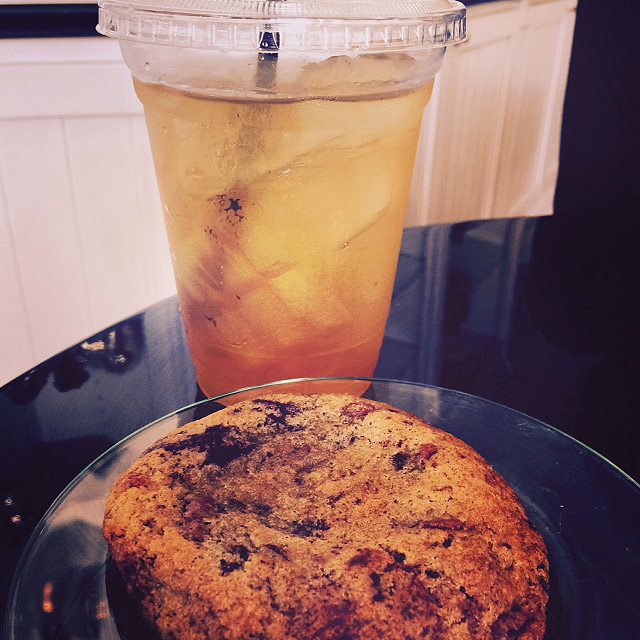 Ice Pomegranate tea and a Salted Caramel Cookie