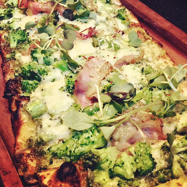 Close-up of the Broccoli Flatbread