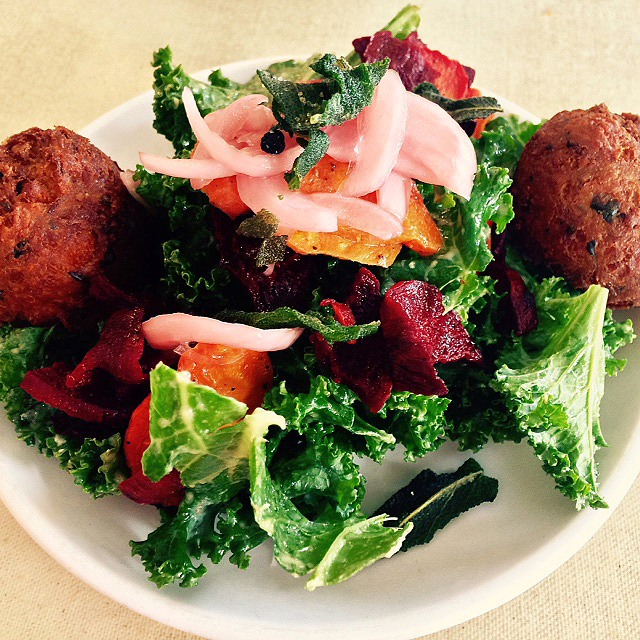 Kale Salad with Falafel Balls