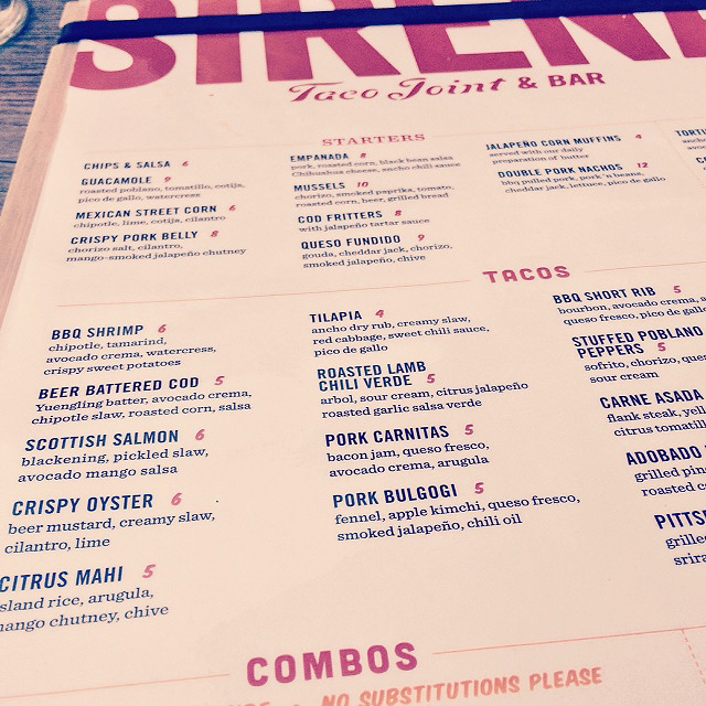 Sirena Taco Joint & Bar's Menu, Part One