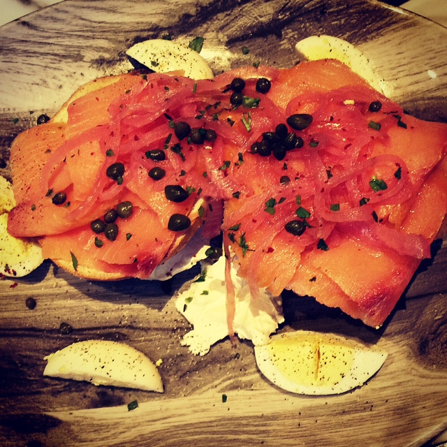 Mom's brunch at The Commoner: The Norwegian- salmon lox, on top of cream cheese, and bagel, with capers, onions and a fried egg.
